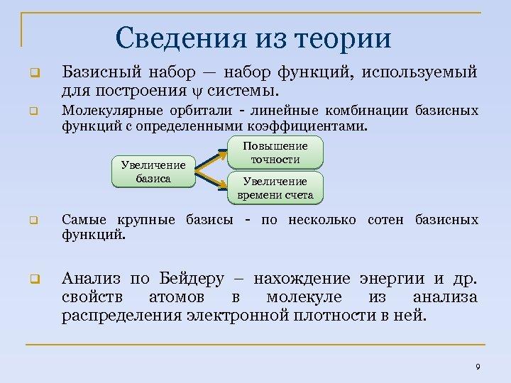 Сведения из теории q Базисный набор — набор функций, используемый для построения системы. q