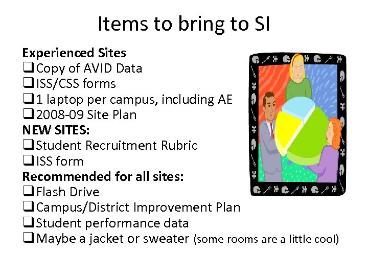 Items to bring to SI Experienced Sites q Copy of AVID Data q ISS/CSS