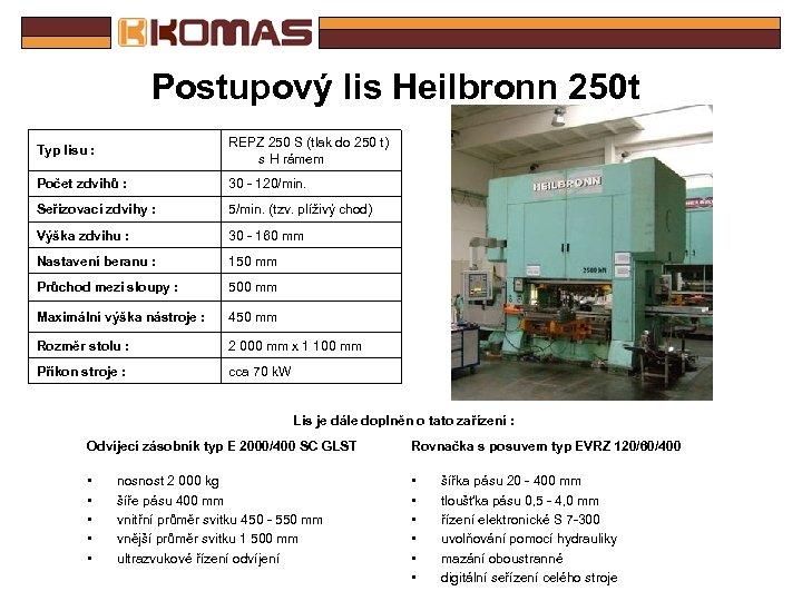 Postupový lis Heilbronn 250 t Typ lisu : REPZ 250 S (tlak do 250