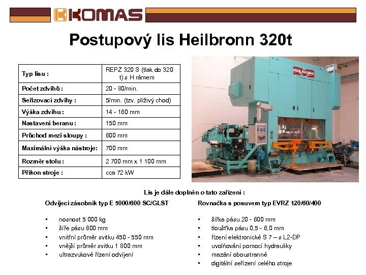 Postupový lis Heilbronn 320 t Typ lisu : REPZ 320 S (tlak do 320