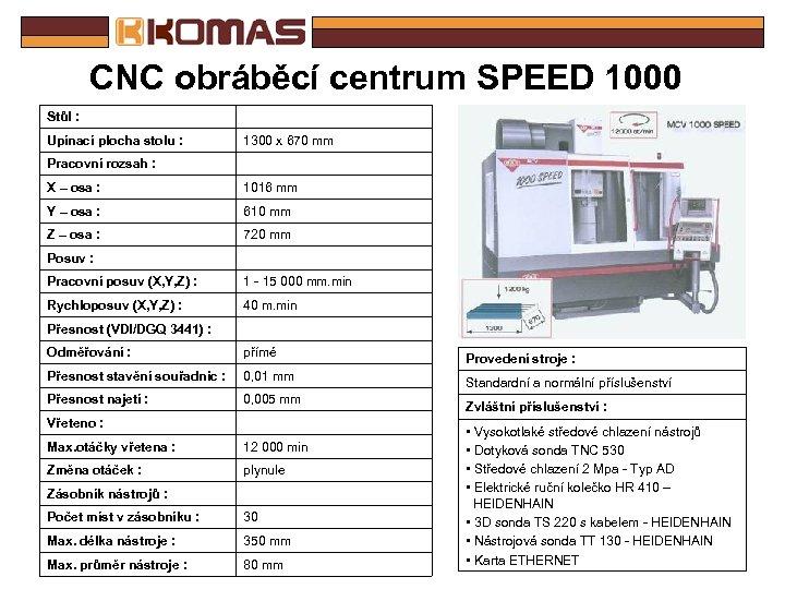 CNC obráběcí centrum SPEED 1000 Stůl : Upínací plocha stolu : 1300 x 670