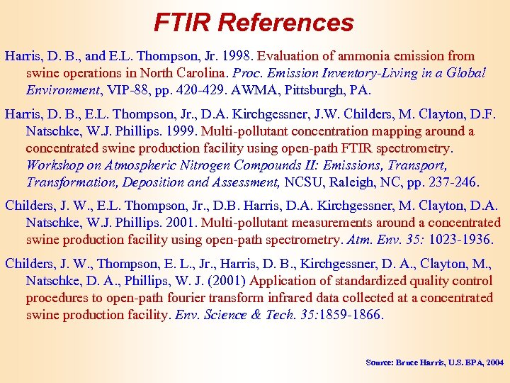 FTIR References Harris, D. B. , and E. L. Thompson, Jr. 1998. Evaluation of