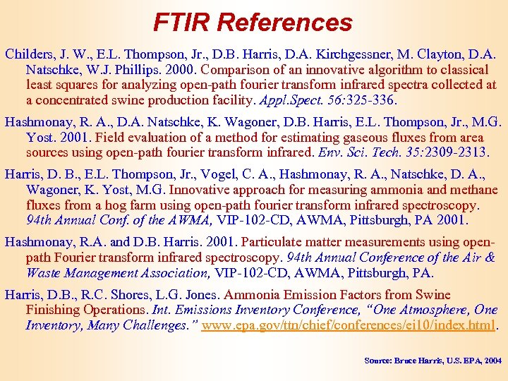 FTIR References Childers, J. W. , E. L. Thompson, Jr. , D. B. Harris,