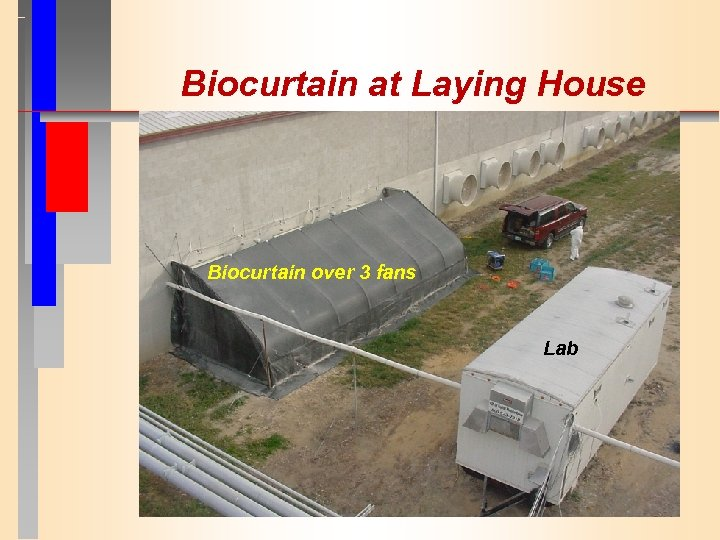 Biocurtain at Laying House Biocurtain over 3 fans Lab