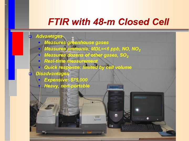 FTIR with 48 -m Closed Cell q q Advantages § Measures greenhouse gases §