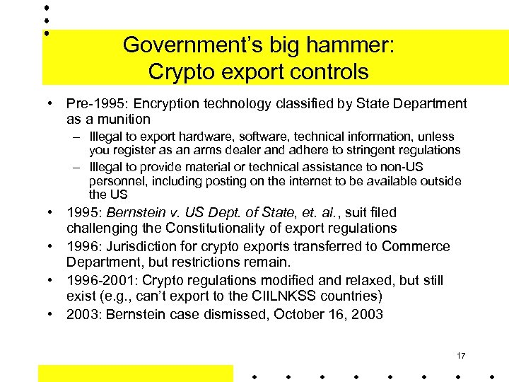 Government's big hammer: Crypto export controls • Pre-1995: Encryption technology classified by State Department