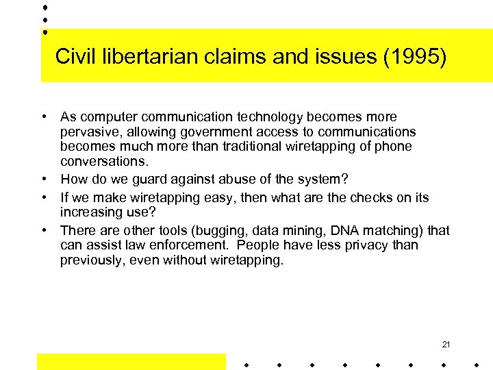 Civil libertarian claims and issues (1995) • As computer communication technology becomes more pervasive,