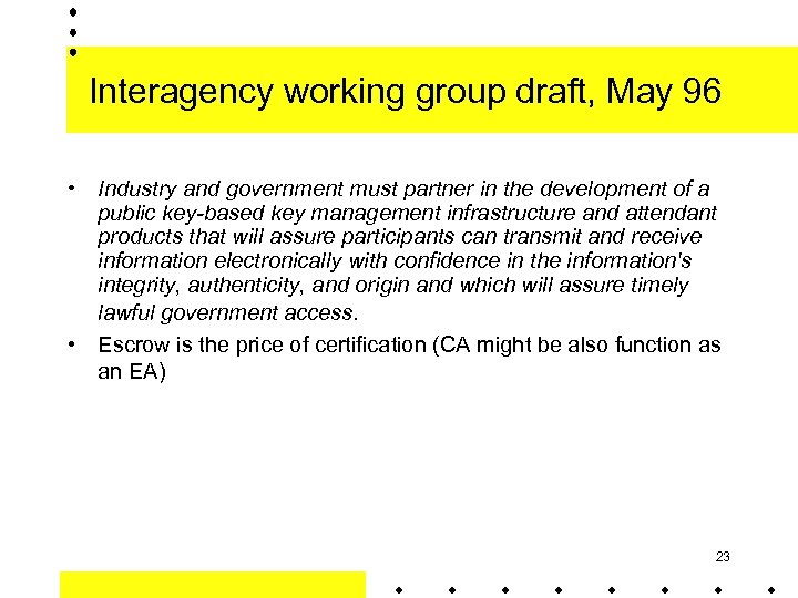 Interagency working group draft, May 96 • Industry and government must partner in the