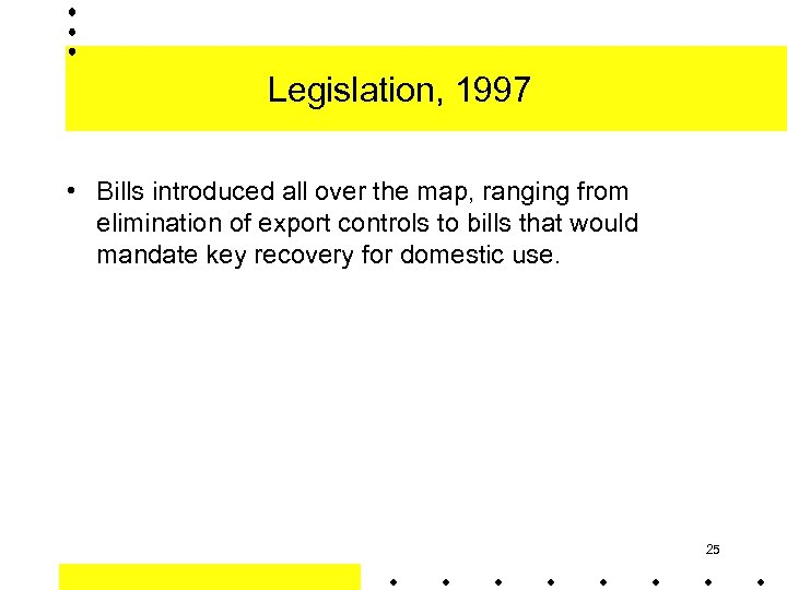 Legislation, 1997 • Bills introduced all over the map, ranging from elimination of export