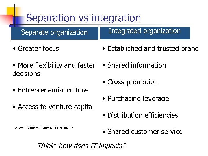 Separation vs integration Integrated organization Separate organization • Greater focus • Established and trusted