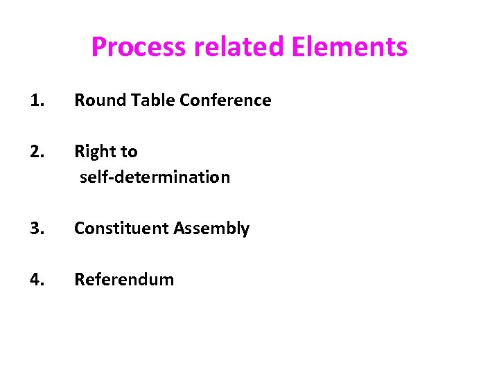 Process related Elements 1. Round Table Conference 2. Right to self-determination 3. Constituent Assembly