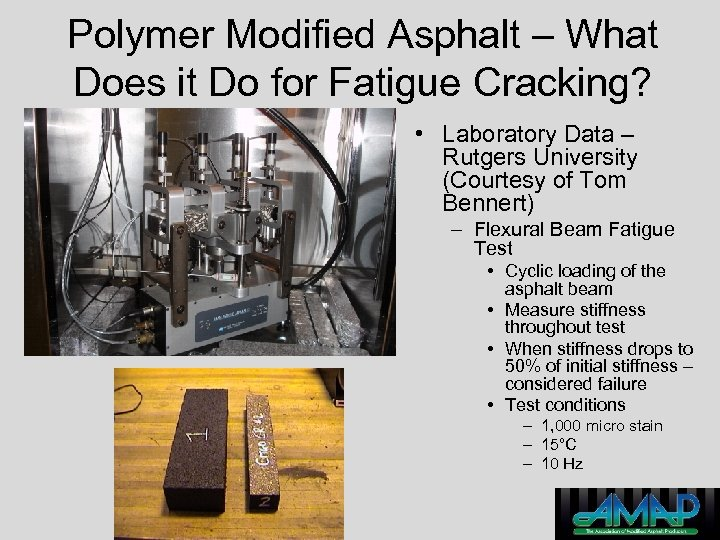 Polymer Modified Asphalt – What Does it Do for Fatigue Cracking? • Laboratory Data