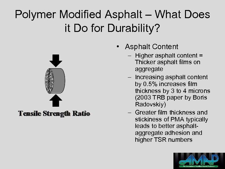 Polymer Modified Asphalt – What Does it Do for Durability? • Asphalt Content –