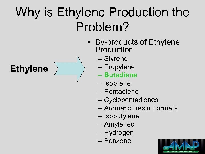Why is Ethylene Production the Problem? • By-products of Ethylene Production Ethylene – –