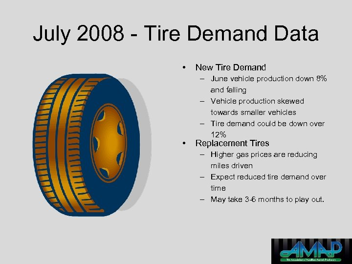 July 2008 - Tire Demand Data • • New Tire Demand – June vehicle