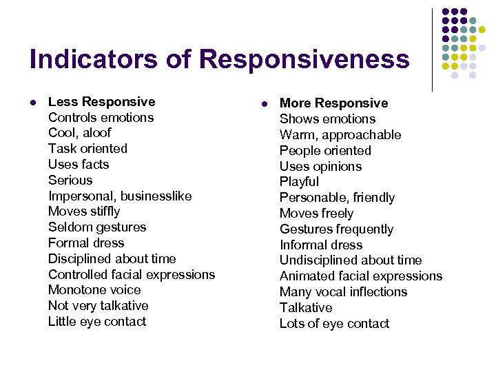 Indicators of Responsiveness l Less Responsive Controls emotions Cool, aloof Task oriented Uses facts