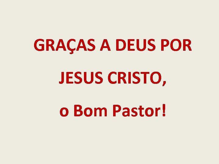 GRAÇAS A DEUS POR JESUS CRISTO, o Bom Pastor!