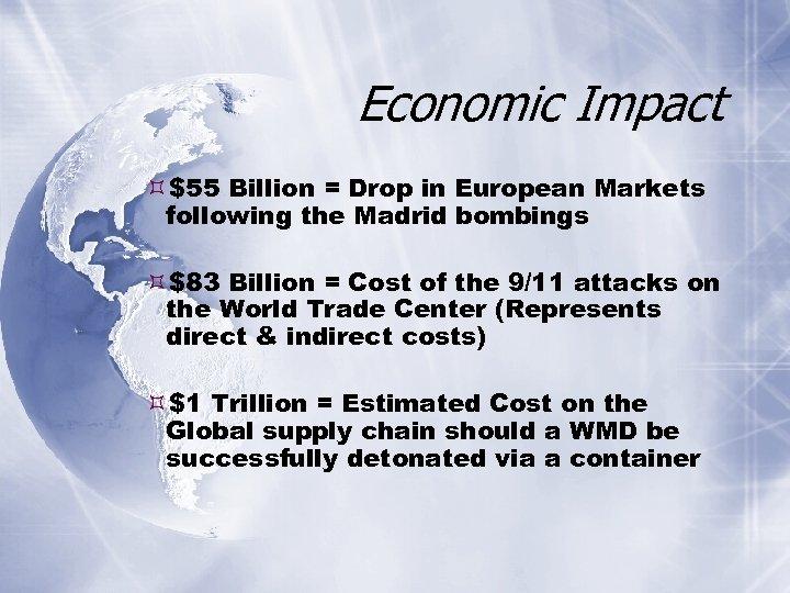Economic Impact $55 Billion = Drop in European Markets following the Madrid bombings $83