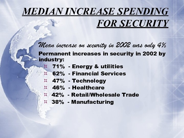 MEDIAN INCREASE SPENDING FOR SECURITY Mean increase on security in 2002 was only 4%