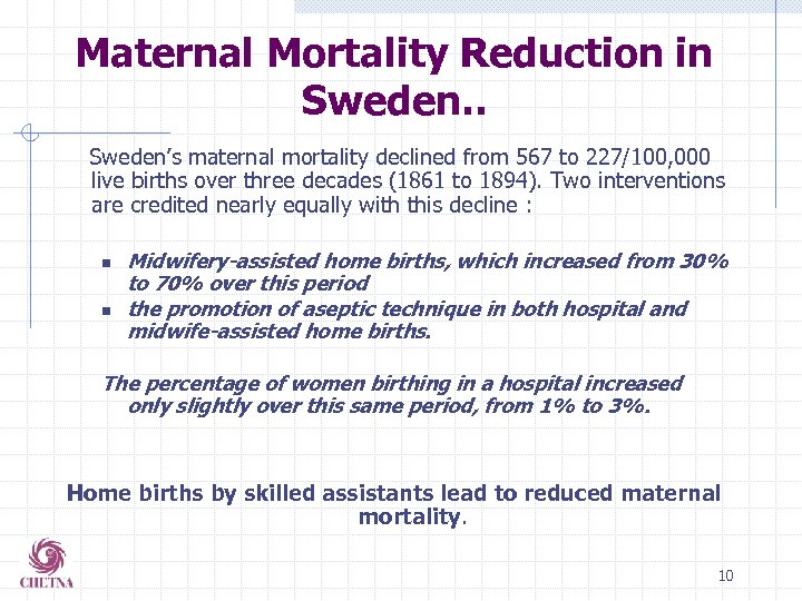 Maternal Mortality Reduction in Sweden. . Sweden's maternal mortality declined from 567 to 227/100,
