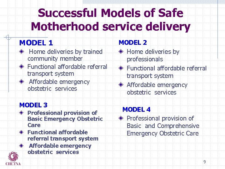 Successful Models of Safe Motherhood service delivery MODEL 1 Home deliveries by trained community