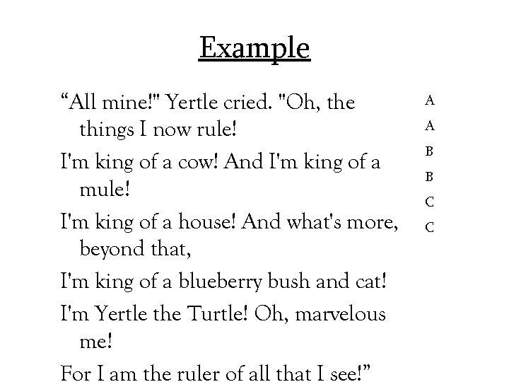 "Example ""All mine!"