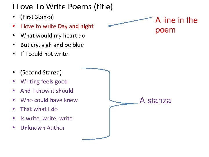 I Love To Write Poems (title) • • • (First Stanza) I love to