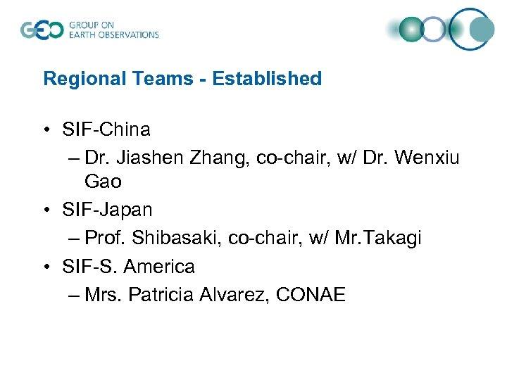 Regional Teams - Established • SIF-China – Dr. Jiashen Zhang, co-chair, w/ Dr. Wenxiu