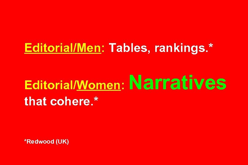 Editorial/Men: Tables, rankings. * Editorial/Women: that cohere. * *Redwood (UK) Narratives
