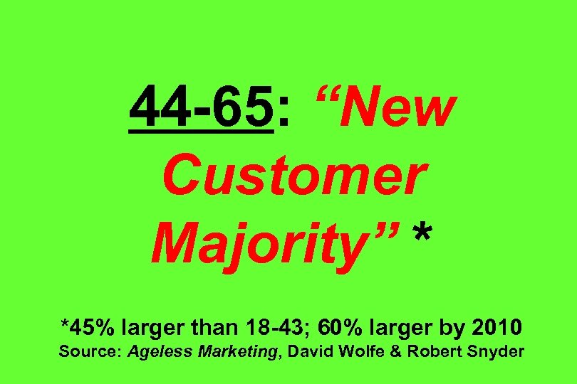 "44 -65: ""New Customer Majority"" * *45% larger than 18 -43; 60% larger by"