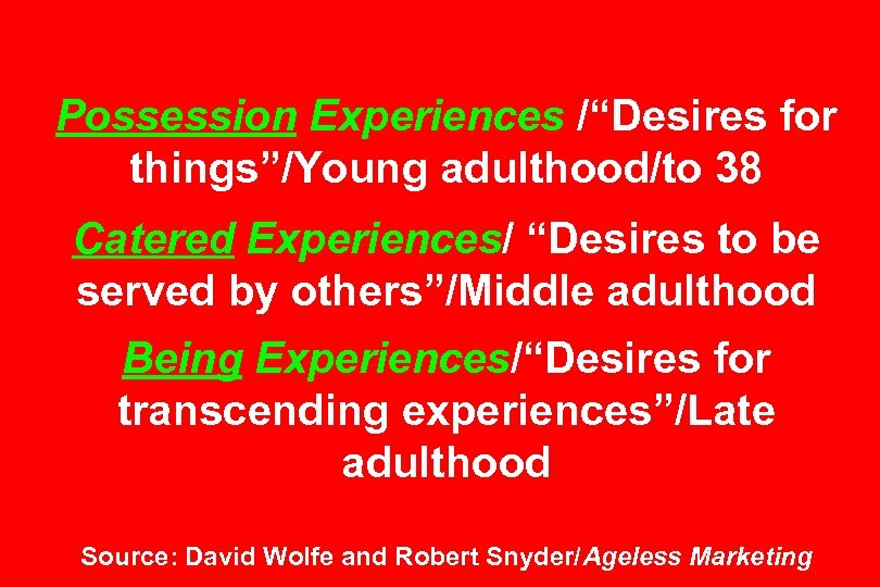 "Possession Experiences /""Desires for things""/Young adulthood/to 38 Catered Experiences/ ""Desires to be served by"