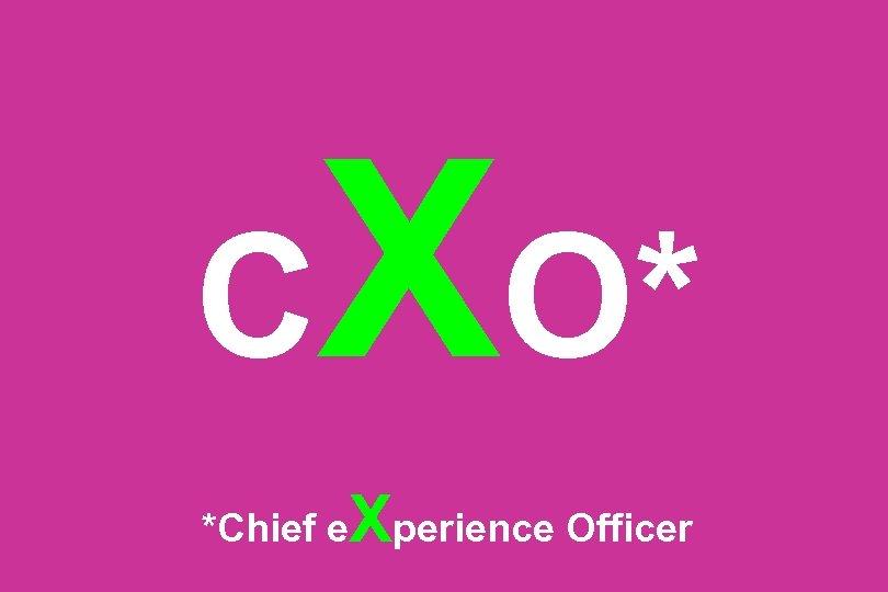 C XO* *Chief e Xperience Officer