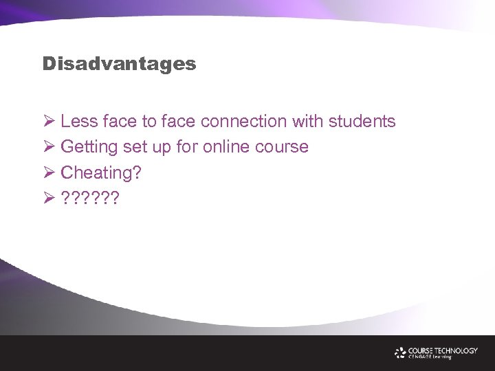 Disadvantages Ø Less face to face connection with students Ø Getting set up for