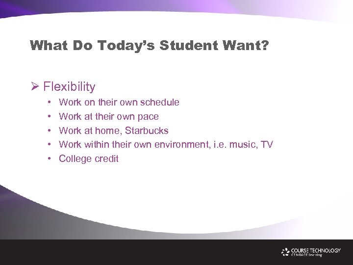 What Do Today's Student Want? Ø Flexibility • • • Work on their own