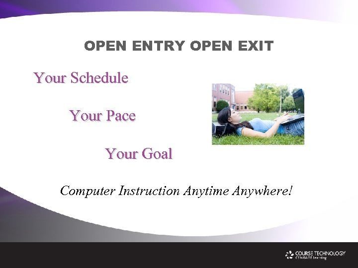 OPEN ENTRY OPEN EXIT Your Schedule Your Pace Your Goal Computer Instruction Anytime Anywhere!