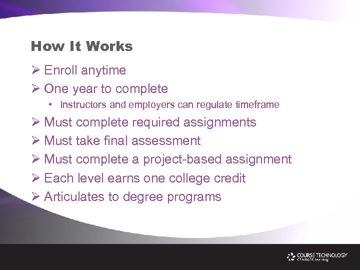 How It Works Ø Enroll anytime Ø One year to complete • Instructors and