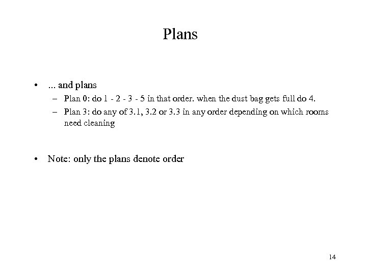 Plans • . . . and plans – Plan 0: do 1 - 2