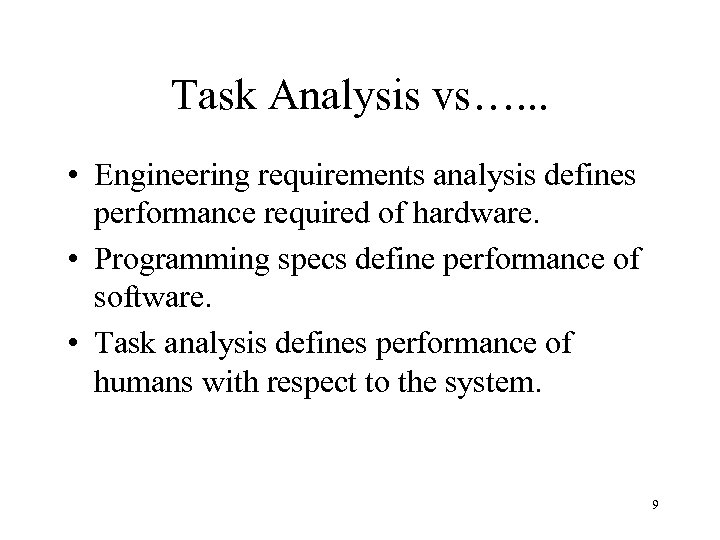 Task Analysis vs…. . . • Engineering requirements analysis defines performance required of hardware.
