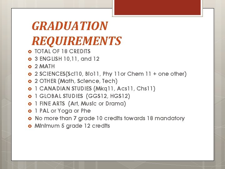 GRADUATION REQUIREMENTS TOTAL OF 18 CREDITS 3 ENGLISH 10, 11, and 12 2 MATH