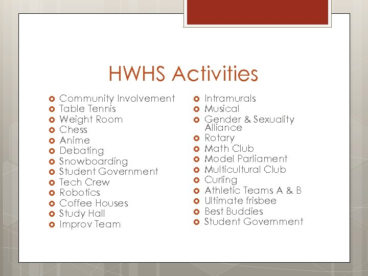 HWHS Activities Community Involvement Table Tennis Weight Room Chess Anime Debating Snowboarding Student Government