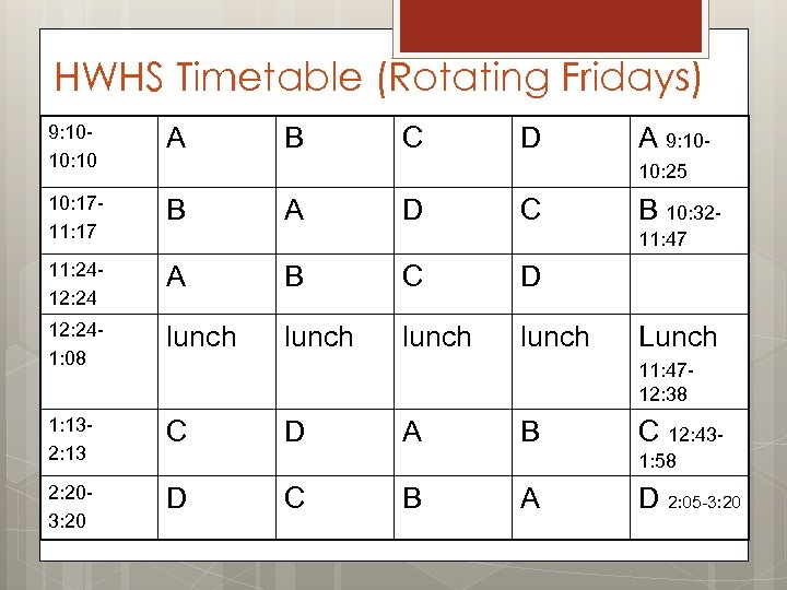 HWHS Timetable (Rotating Fridays) 9: 1010: 10 A 10: 1711: 17 B 11: 2412:
