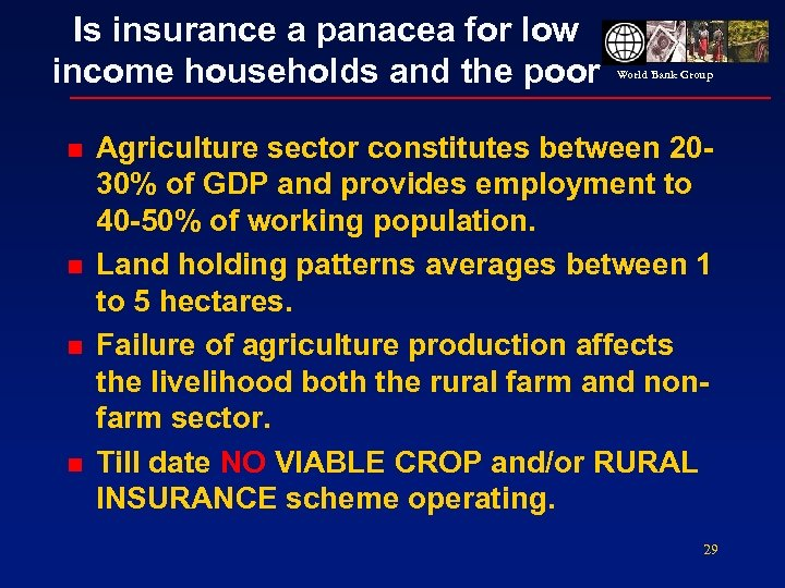 Is insurance a panacea for low income households and the poor n n World