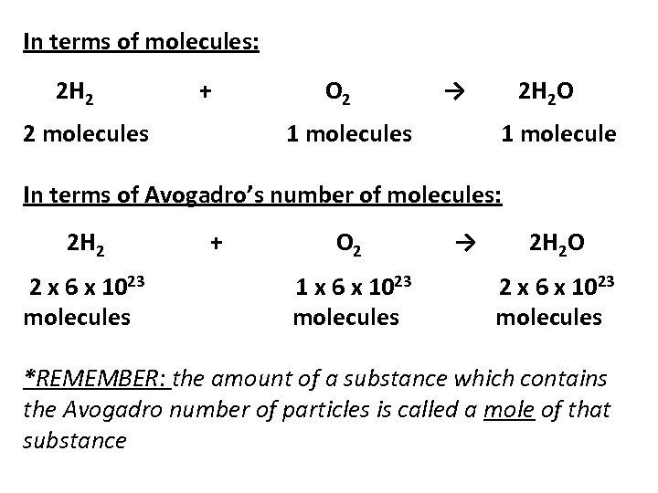 In terms of molecules: 2 H 2 + 2 molecules O 2 → 1