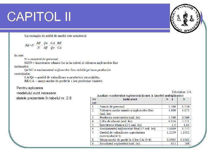 CAPITOL II Pentru aplicarea modelului sunt necesare datele prezentate în tabelul nr. 2. 8.