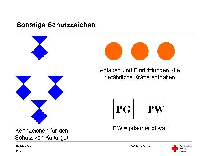 Sonstige Schutzzeichen Anlagen und Einrichtungen, die gefährliche Kräfte enthalten PG Kennzeichen für den Schutz