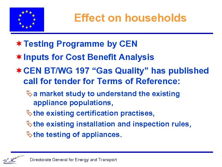 Effect on households ¬ Testing Programme by CEN ¬ Inputs for Cost Benefit Analysis
