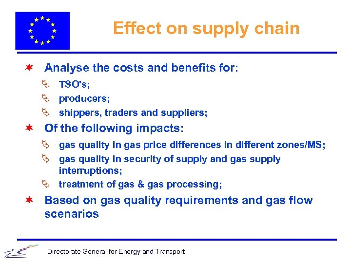 Effect on supply chain ¬ Analyse the costs and benefits for: Ä TSO's; Ä