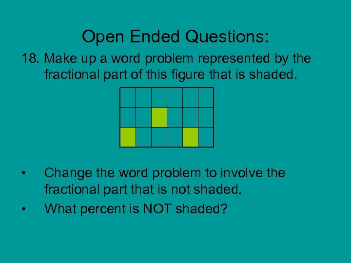 Open Ended Questions: 18. Make up a word problem represented by the fractional part