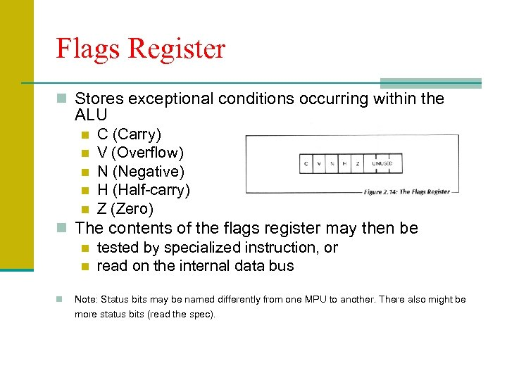 Flags Register n Stores exceptional conditions occurring within the ALU n n n C