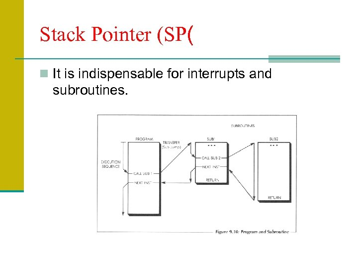 Stack Pointer (SP( n It is indispensable for interrupts and subroutines.